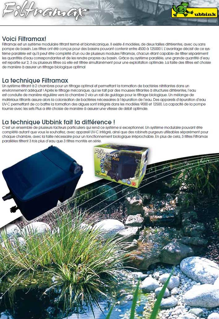 D couvrez le filtre de bassin pompe filtre uvc filtramax 12500l for Bassin de jardin facile